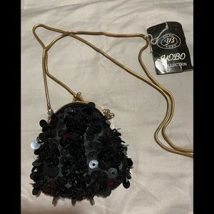 Black sequin evening pouch bag